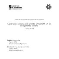Calibración interna del satélite SAOCOM 1A en el segmento terreno